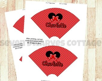 Ms Mouse printable ice cream cone wrappers,  DIY print at home, personalized ice cream wrappers, Birthday party supplies