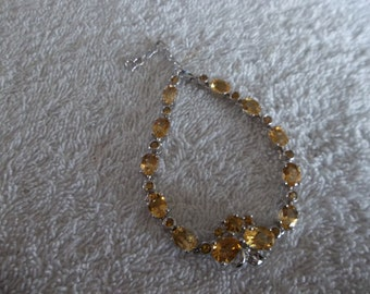 Sterling Silver 925 bracelet with Citrine stones