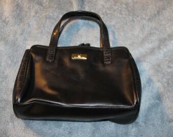 Vintage Liz Claiborne Handbag, Matt Black, Two Handles, Roomy, A Lot of Compartments, Snaps Shut in Two Places, Solid HandBag, Purse
