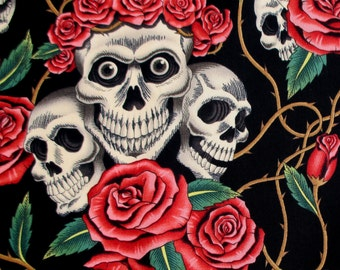 Fabric, The Rose Tattoo, Skulls and Roses, Black and Tea, Alexander Henry, By the Yard