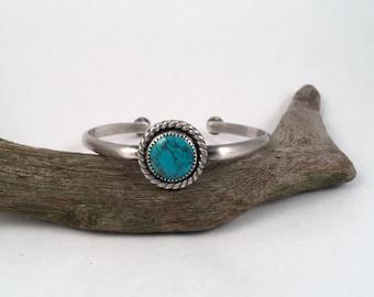 Silver Cuff Bracelet, Turquoise Bracelet, Turquoise Cuff, Sterling Silver Bracelet, Stacking Bracelet, Gemstone Bracelet, Silver Bangle