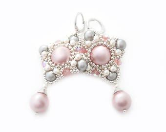 Shades of pink handmade beadwork earrings with large Swarovski pearl