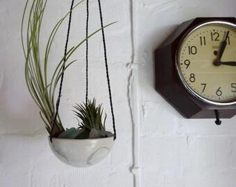 Small ceramic air plant hanger , porcelain planter, moon plant pot, plant pot with rope, hanging pot