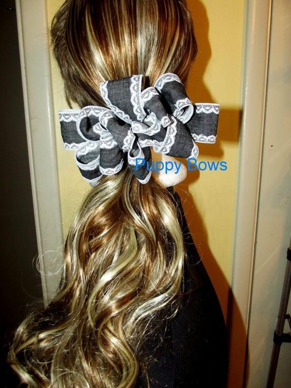 Becky Bows ~ Barrette  huge BIG hair bow Women or Girls large black denim lace trim ladies