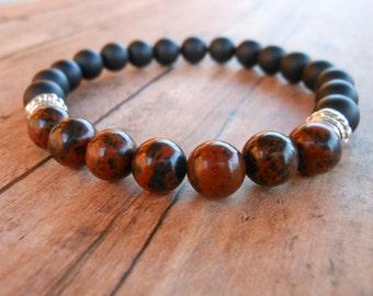 Mahogany Obsidian Mala Bracelet, Black Onyx, Healing & Balancing, Mala Bracelet, Yoga, Buddhist, Meditation, Prayer Beads