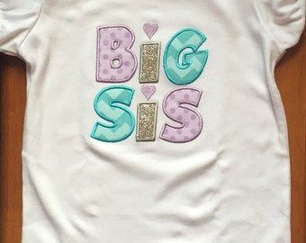 "Lavender, Aqua, and Silver ""Big Sis"" Shirt or Baby Bodysuit"