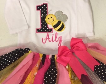 Pink and Black Bumble Bee Birthday Scrap Fabric Tutu Outfit
