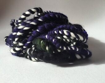 Dark Purple Green and White Handspun Artyarn - handspun art yarn - handspun yarn - merino handspun yarn