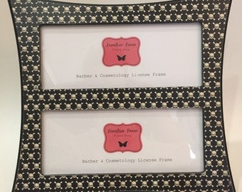 double barber cosmetology license frame black white skulls print fits 2 8 12 x 3 58 business certificate