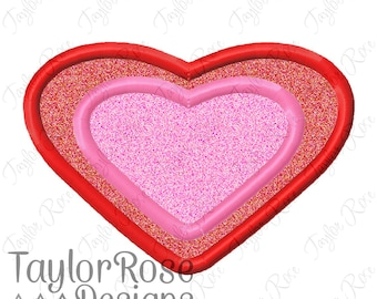 Heart Double Layer 3 Applique Machine Embroidery Design 3x3 4x4 5x7 6x10 Love Valentine Valentine's Day Valentines INSTANT DOWNLOAD