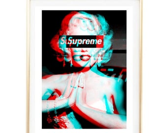 Supreme Marilyn Monroe Print Fashion Logo Art Room Decor Typographic Print  Brandy Melville Frame Quotes Bedroom