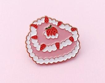 Strawberry short cake enamel pin