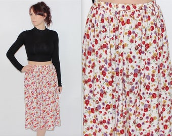 """Vintage 1990's Cream Red Yellow FLORAL PATTERNED High Waisted MIDI Skirt Size 6 8 10 21"""" 22"""" 23"""" 24"""" 25"""" 26"""""""