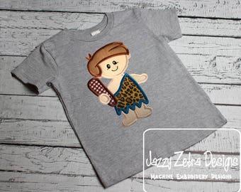 Cave boy appliqué embroidery design - cave man appliqué design - cave boy appliqué design - prehistoric appliqué design - boy appliqué