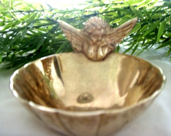 Solid Brass Holy Water Font with Cherub * Brass Table Décor * Unique Accent Piece *Solid Brass Bowl with Angel