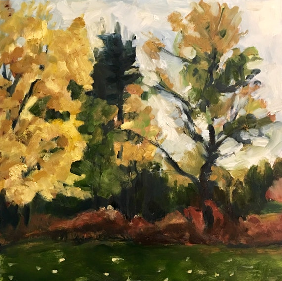 "Sorry, this item is SOLD- Original Oil Painting: November Trees, 16"" x16"""