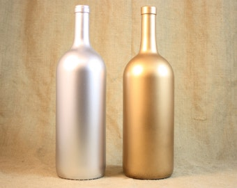 Anniversary Guest Book Bottle, Gold & Silver Wedding Guest Book, Painted Wine Bottle, Upcycled Wine Bottle Home Decor, One Bottle