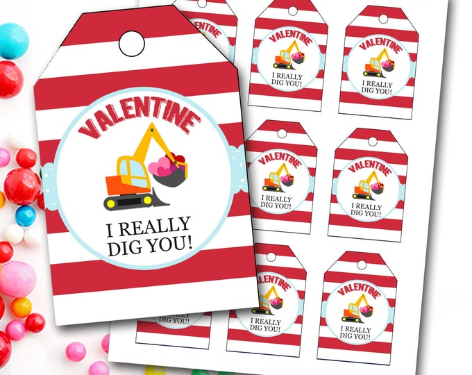 Valentine's Day Tag, Boy Valentine's Tag, Digger Valentine's Tag, Bulldozer, I Dig You, Instant Download, Party Favor Tags, DIY Printable