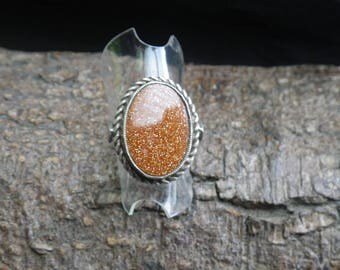 Vintage Sterling Silver Aventurine Statement Ring