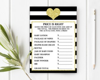 Price Is Right Baby Shower Game, Oh Baby Shower, Black and Gold Glitter Baby Shower, Item 260, Item 261