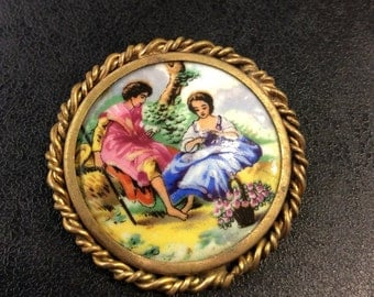 Limoges painted china brooch