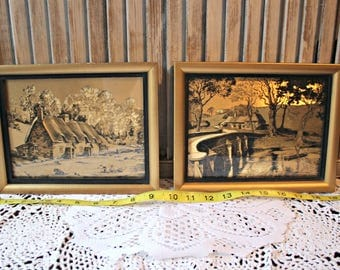 Vintage! Scenes on foil. Gold photos in gold frames. Two pictures!