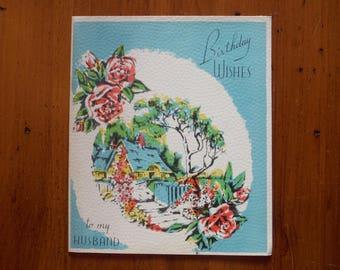 Vintage 1940's Husband Birthday Card - '40's Unused Husband's Happy Birthday Card - 1940's Dear Husband Roses Textured Paper Ephemera