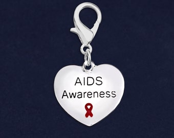 AIDS Awareness Ribbon Heart Hanging Charms in Bags (25 Charms) (HC-B01-6AI)