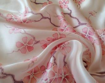 silk scarf handpainted sakura, silk hair scarf, women's day, anniversary gift, gift for women, hand-painted silk