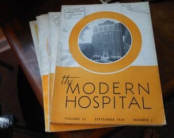 September 1939 antique MODERN HOSPITAL MAGAZINE w/Drug ads, equipment ads, photos