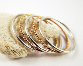 Stacking Ring Set (5 rings) Yellow Gold Filled Twisted Ring Sterling Silver Ring Gold Ring Great Bridesmaid Gift Stacking Ring Thin Rings