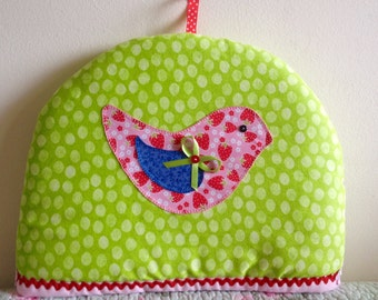 Tea Cosy handmade strawberry bird kitchen decor tea pot Free Postage