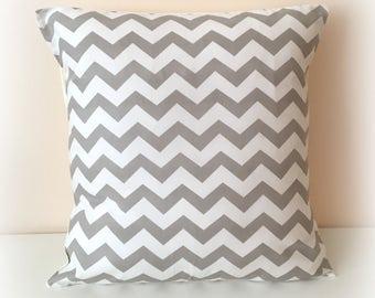 "Retro Funky Chevron Zig Zag Grey Cushion Cover Pillow Nursery 12"" & 16"""