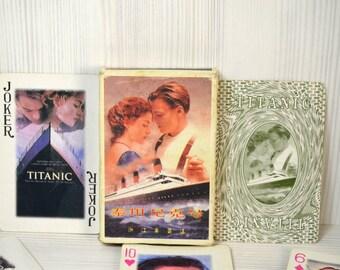 Vintage Playing Cards, Titanic Collectible, set of 54 cards, Leonardo Dicaprio, Kate Winslet, Bachelorette Parties, Film Memorabilia, paper