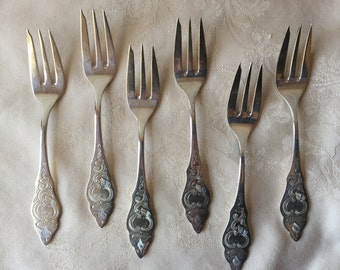 Vintage Dessert Fork, Robbe and Berking, Ostfriesen Silver Plate, 6 Cake Forks, Silver Plate Pastry Forks, Vintage Silver Plate Flatware
