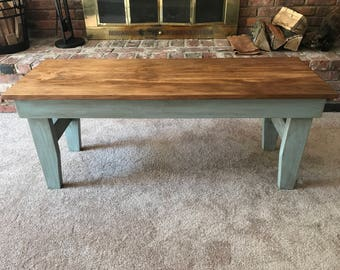 Distressed and Aged vintage style bench or coffee table.