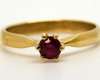 9 Carat Gold Engagement Ring with 4mm Ruby Solitaire