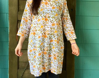 Gorgeous Vintage Indian Style Floral Cotton Tunic Dress by fabindia size Medium