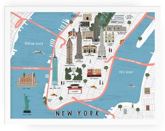 New York map illustrated art print - map illustration city new york art new york print new york map art city map new york wall art