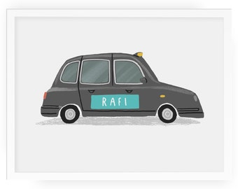 London Taxi personalised illustrated print - child's room print london taxi print london taxi london cab black cab nursery art