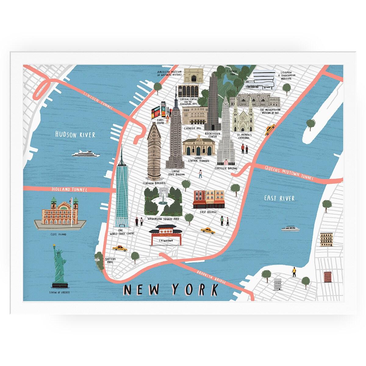 New York Map Illustrated Art Print Map Illustration City New