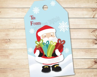 """INSTANT DOWNLOAD - Christmas Santa Gift Tags 2""""x3.5"""" - To From Party Favor - Christmas Treat Tag - Tag Printable - Gift Bag Tags - Red Green"""