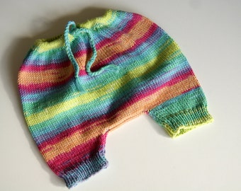 Hand Knit Baby Pants, Baby Clothing, baby Girl Clothing, Baby Boy Clothing, Baby Girl Pants, Multicolored Baby Pants