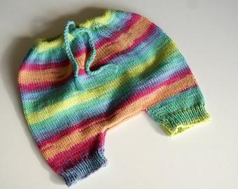 Hand Knit Preemie Pants, Preemie Clothing, Preemie Girl Clothing, Preemie Boy Clothing, Preemie Girl Pants, Multicolored Baby Pants