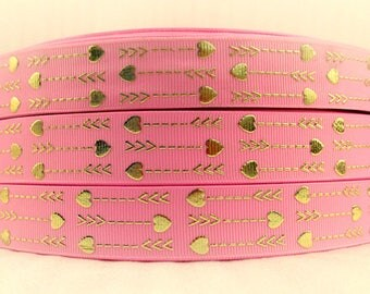 """7/8"""" PINK GOLD FOIL arrows grosgrain ribbon. Available in 3, 5, 10 or 25 yards Foil arrows, gold, Incredibly beautiful!"""