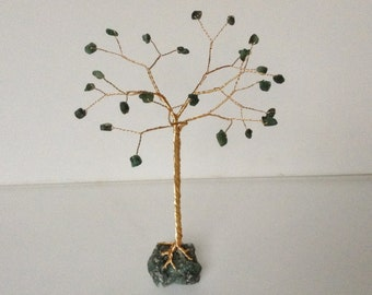 May birthstone gemstone tree. Emerald wire sculpture. Green and gold tree of life ornament