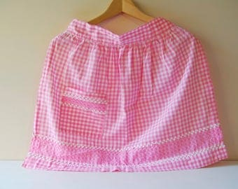 Vintage Gingham Half Apron with Ric Rac and Cross Stitch. Handmade Apron. Child or Adult Small Size. Pink and White.