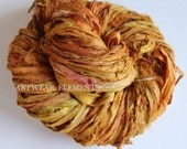 Sari Silk, Vintage Tea Spice, Fair Trade, 5 Yards, OOAK Silk Canvas Series, Textile, Yarn, Ribbon, Silk Ribbon, Artwear Elements 135b