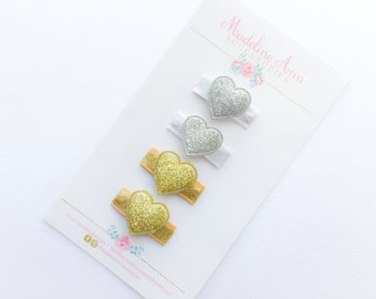 Baby Valentines Clippies, Sparkly Heart Clips, Baby's 1st Valentines Gift, Tiny Baby Hair Clips, Girls' Glitter Heart Clips, Baby Hair Clips