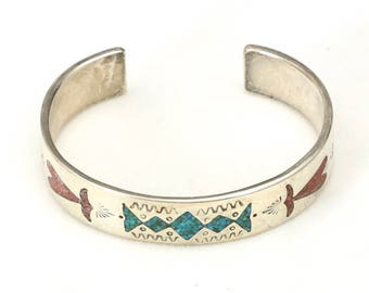 Vintage Navajo Design Inlaid Turquoise & Coral Silver Cuff Bracelet Southwestern